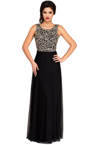Glamorous Gold Embroidery Her Black Tulle Overlay Evening Dress