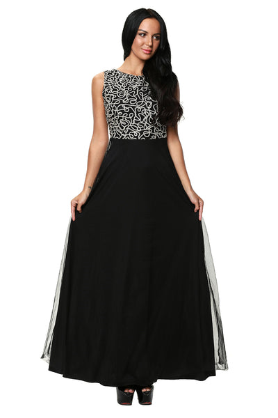 Her Fashion Gold Embroidered Her Black Tulle Overlay Trendy Prom Dress