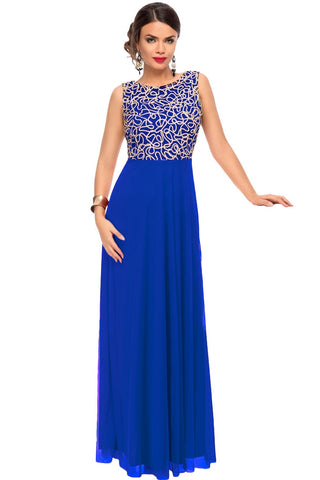 Glamorous Gold Embroidery Her Blue Tulle Overlay Evening Dress