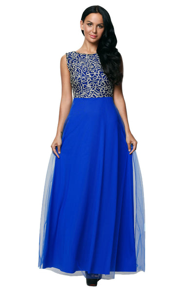Her Fashion Gold Embroidered Her Blue Tulle Overlay Trendy Prom Dress