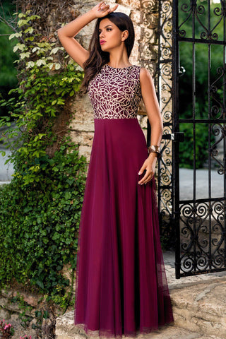 Glamorous Gold Embroidery Her Purple Tulle Overlay Evening Dress