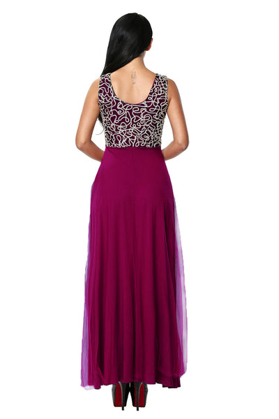 Her Fashion Gold Embroidered Her Purple Tulle Overlay Trendy Prom Dress
