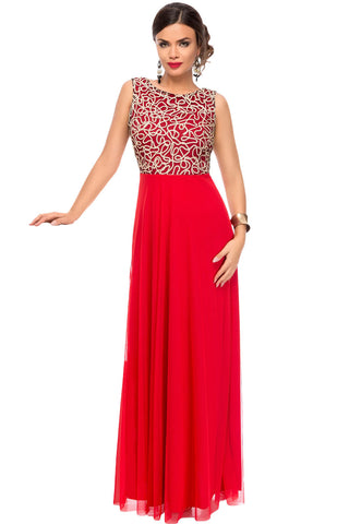 Glamorous Gold Embroidery Her Red Tulle Overlay Evening Dress