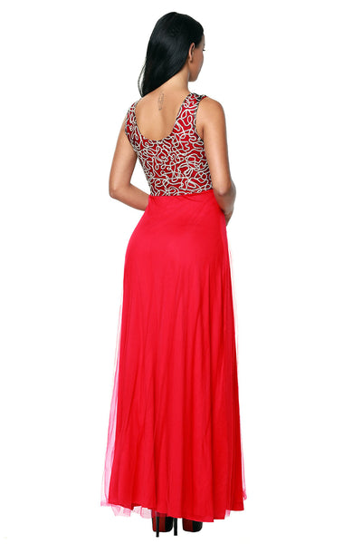 Her Fashion Gold Embroidered Her Red Tulle Overlay Trendy Prom Dress