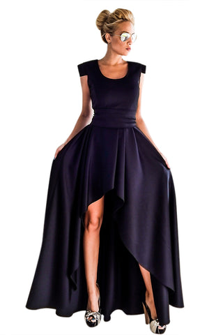 Glamorous Navy Sophisticated Party Queen High Low Her Fashion Dress