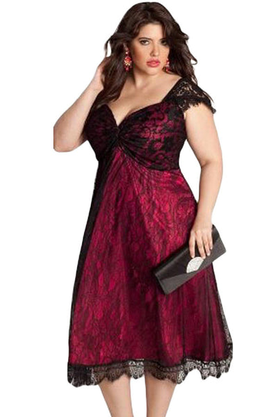 ca1f138c000ba Glamorous Red Lace PlusSize Her Contemporary Cocktail Dress ...