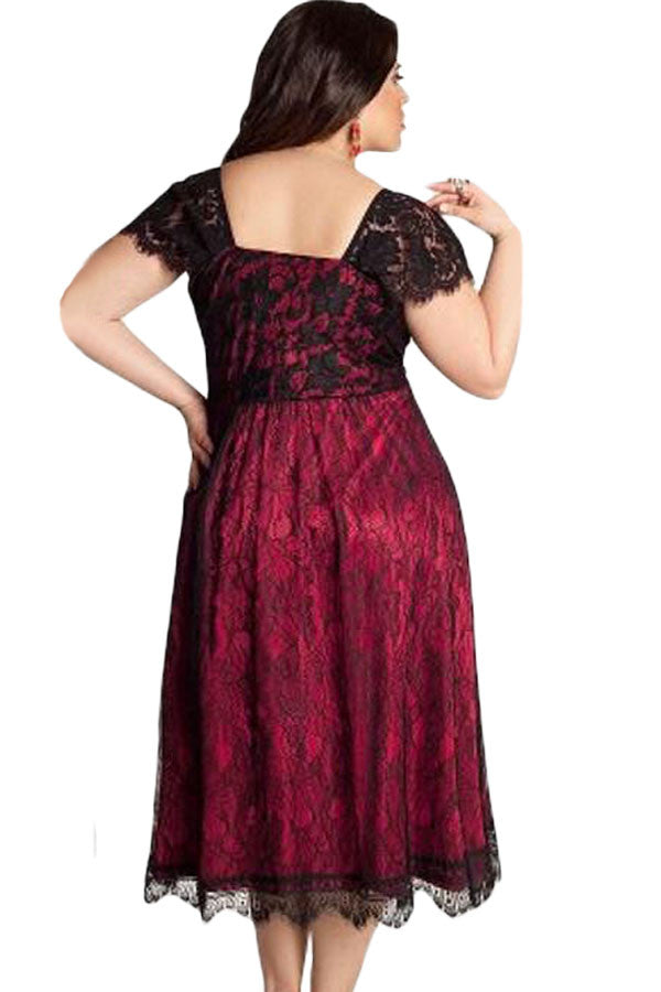 Glamorous Red Lace PlusSize Her Contemporary Cocktail Dress