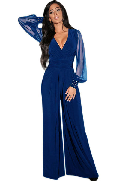Gold Studs Cuffs HerFashion Blue Mesh Sleeves Jumpsuit