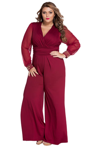 682920ef801 Gold Studs Cuffs HerFashion Red Mesh Sleeves Plus Size Jumpsuit