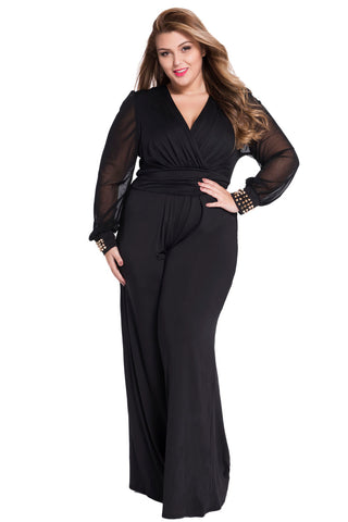 Gold Studs Cuffs HerFashion Black Mesh Sleeves Plus Size Jumpsuit