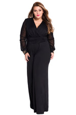 Gold Studs Cuffs HerFashion Black Mesh Sleeves Jumpsuit