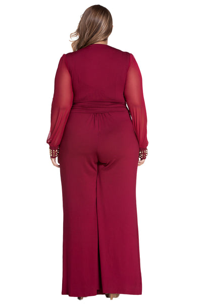 Gold Studs Cuffs HerFashion Red Mesh Sleeves Plus Size Jumpsuit