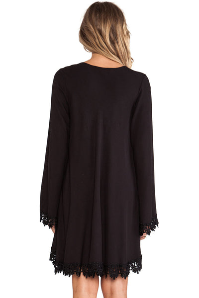 Gorgeous Black Lace Trim Long Sleeve Casual Her Mini Dress