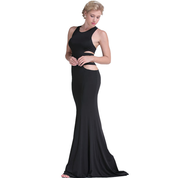 Gorgeous Black Sleeveless Teasing Cut-Out Strap Maxi Dress