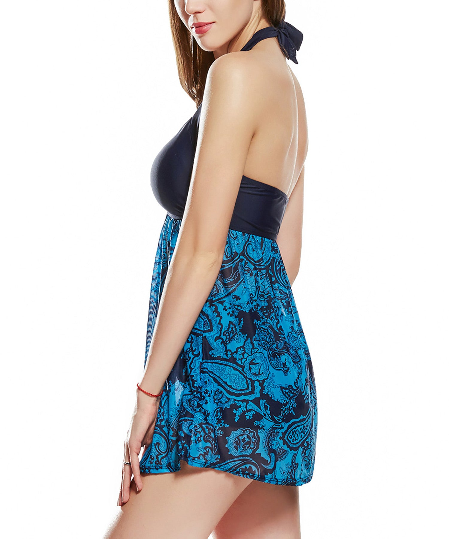 Gorgeous Black Top Floral Print Bottom Halterneck HerFashion Swimdress