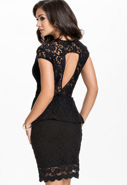 Gorgeous Flawless Lace Black Peplum Her Dress