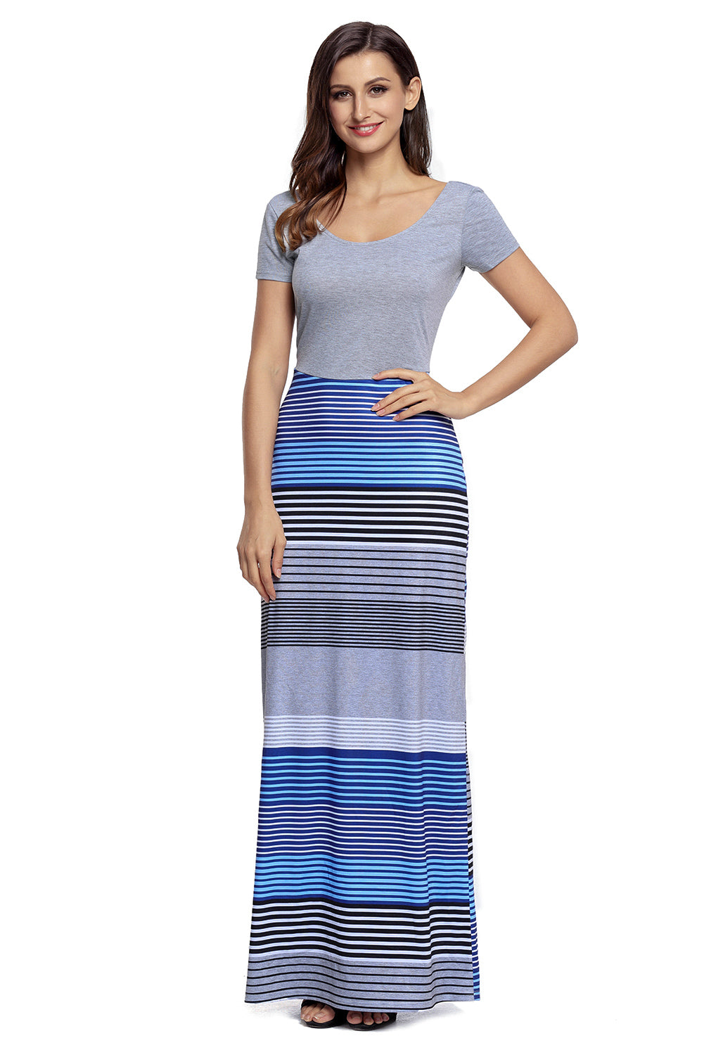 Gorgeous Grey Crisscross Back Muliticolor Her Fashion Maxi Dress