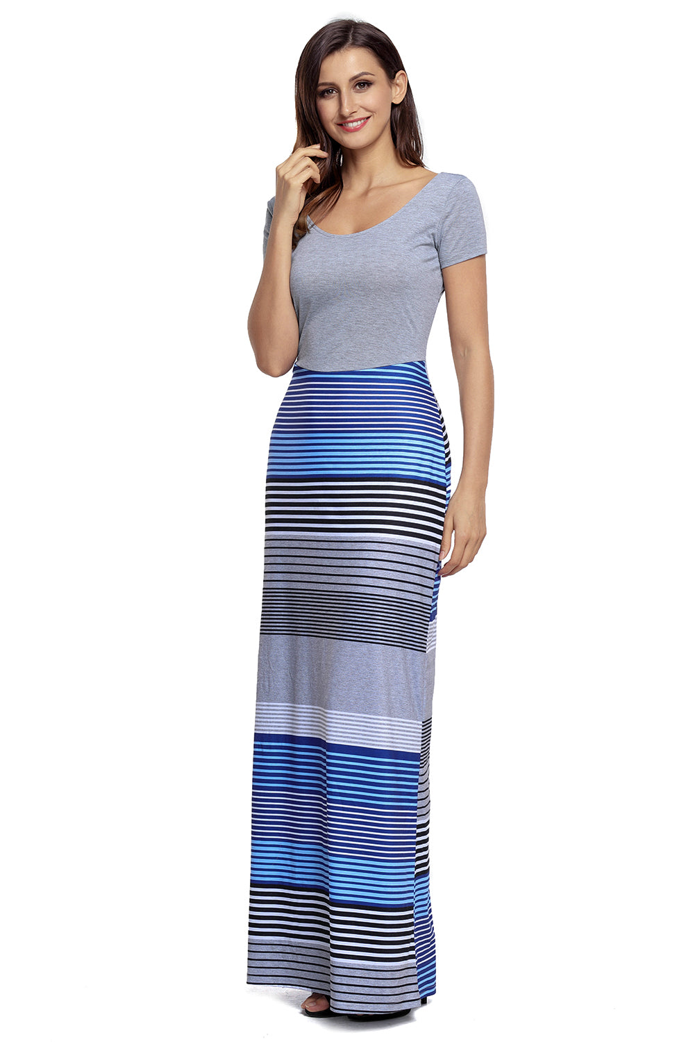 Gorgeous Navy Blue Crisscross Back Muliticolor Her Fashion Maxi Dress