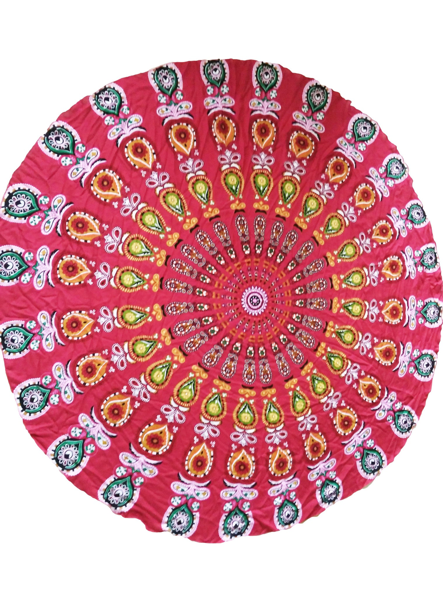 Gorgeous Peacock Print Red Boho Beach Blanket