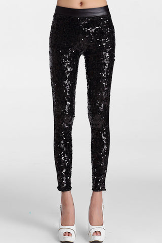 Gorgeous Sporty Look Black Sequin Front Women Leggings