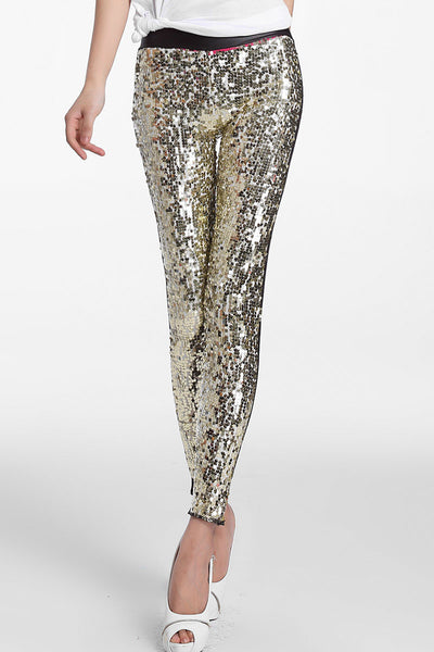 Gorgeous Sporty Look Golden Sequin Front Women Leggings