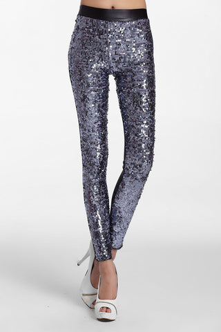 Gorgeous Sporty Look Silver Sequin Front Women Leggings