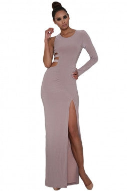 Gorgeous Taupe Long Sleeve Teasing Cut-Out Strap Maxi Dress
