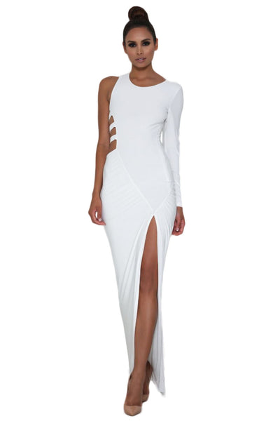 Gorgeous White Long Sleeve Teasing Cut-Out Strap Maxi Dress