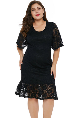 Graceful Look Her Fashion Black Plus Size Lace Dress