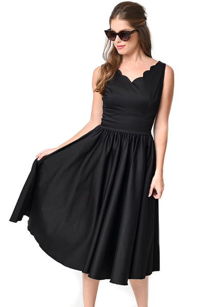 Graceful Vintage Black Ladylike Flared Swing Skirt Dress