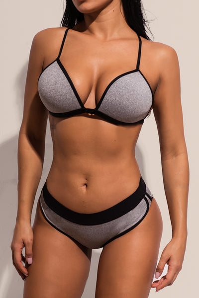 Gray Sports Sexy Her Fashion Strappy Cross Back Swimming Bikini Set