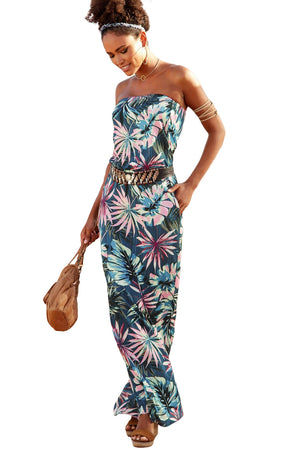 Blue Bohemian Bandeau Floral Print Her Fashion Strapless Maxi Dress