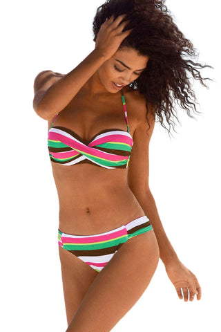 Green Boho Stripes Swimsuit Her Fashion Beachwear Pushup Bikini Set