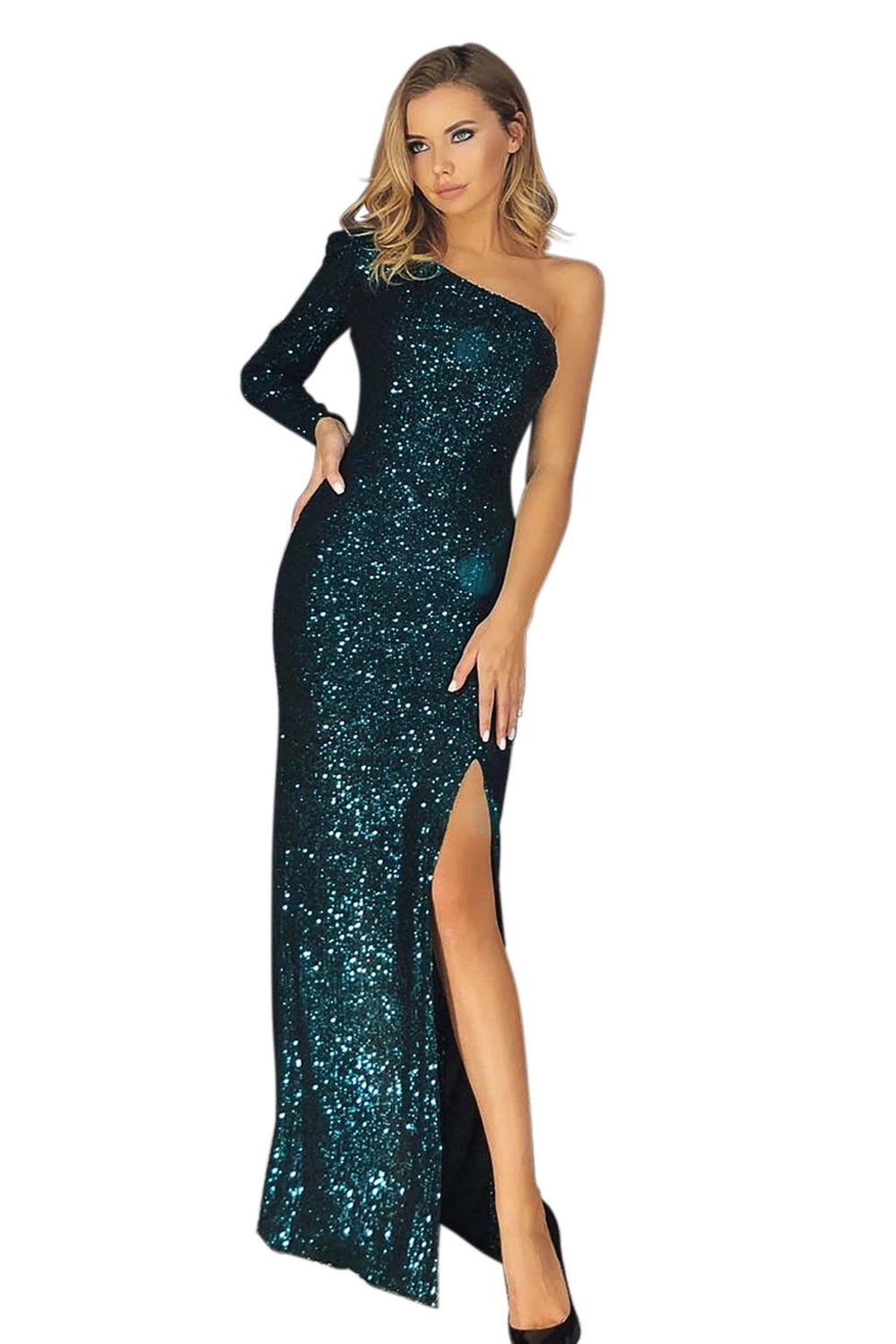 One Shoulder Her Fashion Front Slit Shimmering Green Sequin Gown