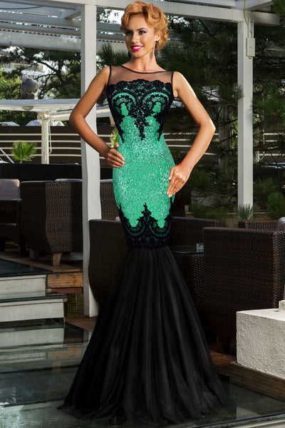 Green Sequin Applique Multi-Layer Tulle Sweeping Floor Skirt Her Evening Mermaid Dress