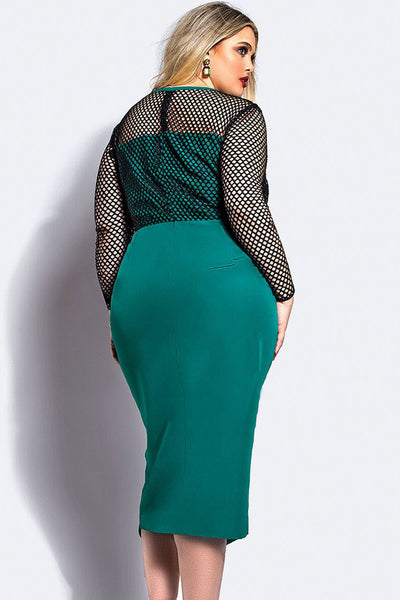 Green Stylish Plus Size Fishnet Curvy Midi Dress ShowStopper