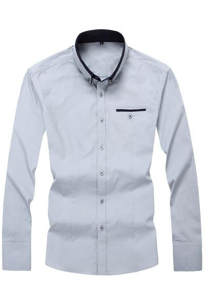 His Fashion Light Blue Cotton Squared-Off Collar Classic Mens Shirt