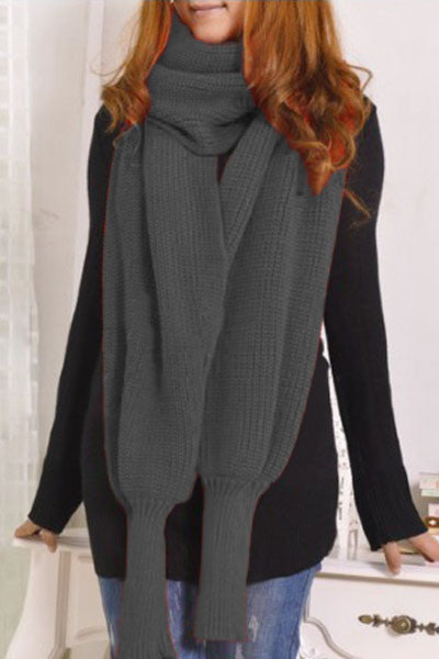 Grey Cozy Knit Loose scarf neck warmer or shawl  with Sleeves