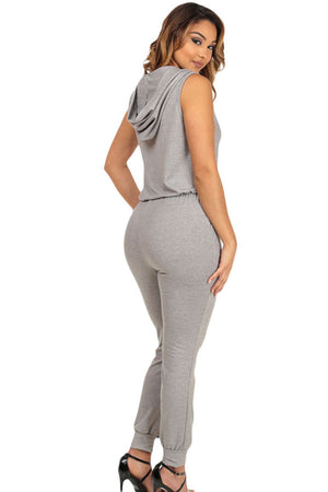 Grey Cuffed Sweatpants With CutOut Slits Hooded Jumpsuit