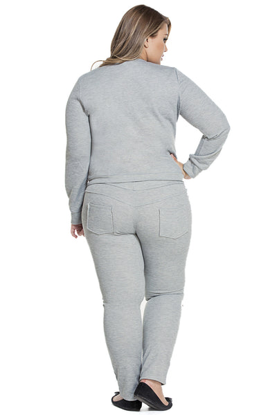 Grey Fashion Sporty Zipped Chic Women Plus Size Pants Set