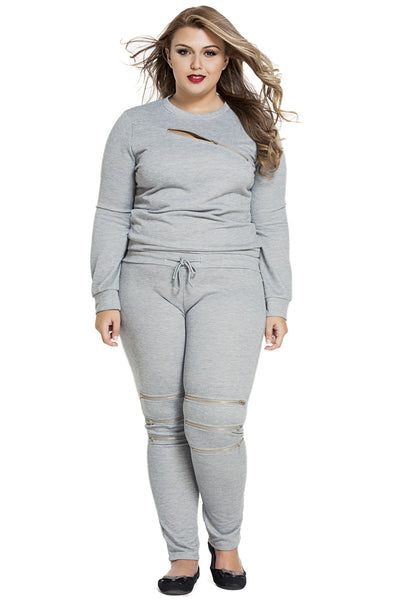 Grey Fashion Sporty Zipped Chic Women Pants Set