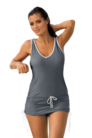 Grey Contrast-colored Beach Dress Her Fashion One Piece Swimwear