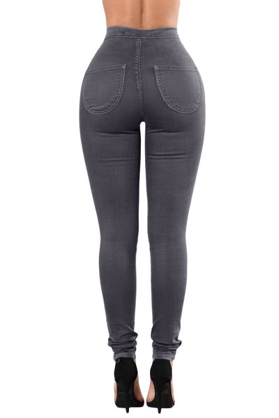 Black Her Fashion High Waist Skinny Fitted Jeans with Round Pockets