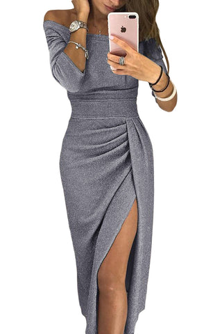 Grey Metallic Glitter Her Fashion Off Shoulder Formal Dress