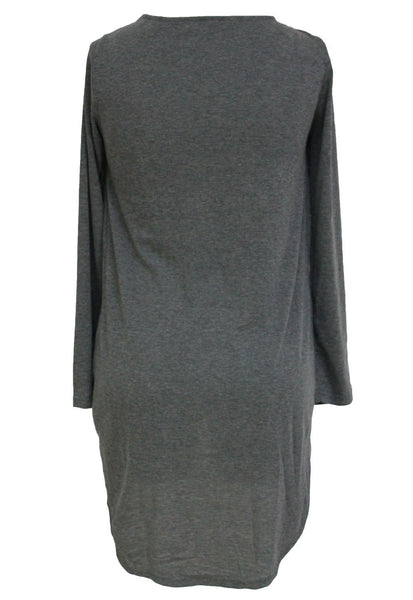 Grey Lace Up adjustable string Chic Pullover Shirt