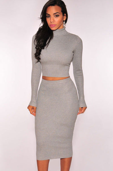 Grey Turtleneck Sweater In A Seductive Two Piece Dress