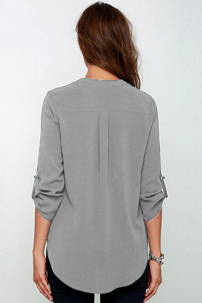 Grey V-sionary Trendy Women V Neck Chiffon Blouse Top