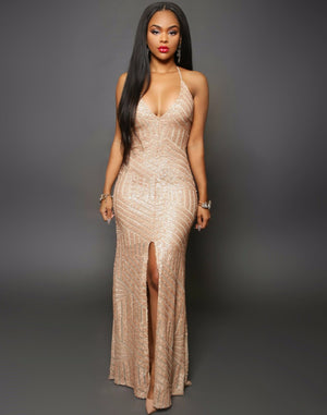 Glamorous Evening Dresses Black Gold Sequins Gown