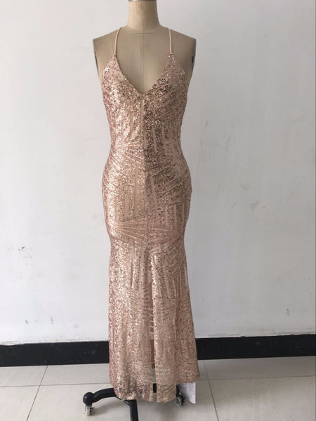 Glamorous Evening Dresses Pink Gold Sequins Gown