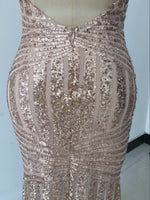 Glamorous Evening Dresses Gold Sequins Gown